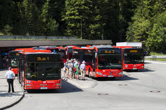 Bus station at Kehlstein, Obersalzberg, Germany Stock Photo