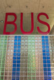 Bus station letters. View on modern designed public bus station Royalty Free Stock Photo