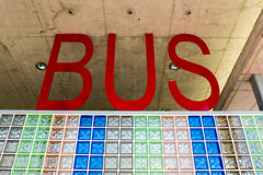 Bus station letters. View on modern designed public bus station Royalty Free Stock Photos