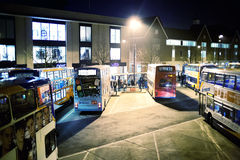 Bus station at night stock photography