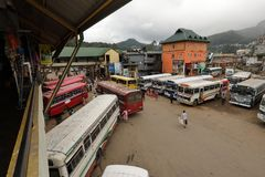 The bus station of Nuwara Eliya in Sri Lanka. 15. December 2017 Stock Photo
