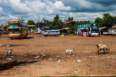 Bus station in Pakse Royalty Free Stock Images