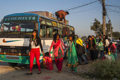 Bus station in Pokhara Stock Photo