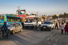 Bus station in Pokhara Stock Photos