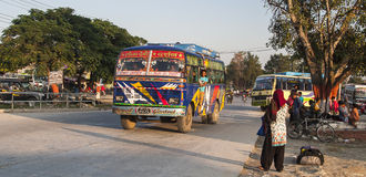 Bus station in Pokhara Stock Image
