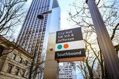 Bus station sign, City Hall SW 5th & Jefferson in downtown Portl. Portland, Oregon, United States - Dec 19, 2017: Bus station sign, City Hall SW 5th & Stock Photo