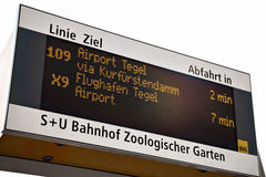 Bus station sign. Image of bus stop sign station in Berlin, Germany Stock Photos