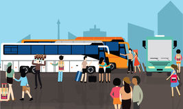 Bus station stop busy people crowd transport city street terminal transportation Royalty Free Stock Photography