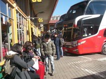 Bus station for travels in Valparaiso, Chile Stock Image