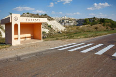 Bus station and view on hills and fields from a limestone cliff Royalty Free Stock Image