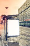Blank billboard on the bus station. Bus station whit blank white billboard Stock Image