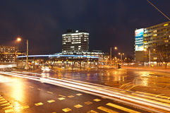 Bus station,Wroclaw. New terminal of bus in Wroclaw at night, Poland Royalty Free Stock Photography