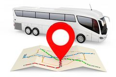 Bus Stations Map with Red Point Pin in front of Big White Coach Stock Photos
