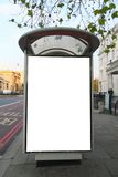 Bus stop. Close to Hyde Park Corner Station in central London, United Kingdom. This is for advertisers to place ad copy samples on a bus shelter royalty free stock images