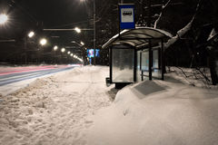 Bus stop. Night shot of empty bus stop in winter Royalty Free Stock Photo