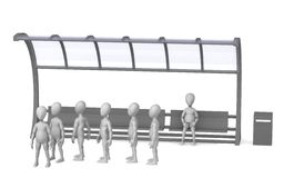 Bus stop. 3d render of cartoon character on bus stop Stock Photo
