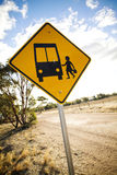Bus Stop. Warning sign for a bus stop in rural area Royalty Free Stock Photo