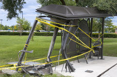 Bus stop. Destroyed city bus stop shelter due to driver losing control of his vehicle Royalty Free Stock Photo