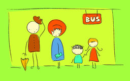 Bus stop. Cute, doodle style bus stop illustration Royalty Free Stock Image