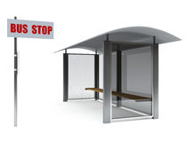 Bus stop. 3d image on white background Stock Photos