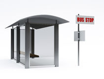 Bus stop. 3d image on white background Stock Image