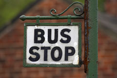 Bus stop. With blurred background stock photo