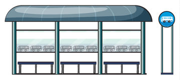 A bus stop. Illustration of a bus stop on a white background Stock Photos