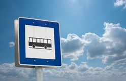 Bus stop. Sign against blue sky Royalty Free Stock Photos