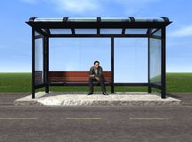Bus Stop. Waiting for the bus Royalty Free Stock Photo