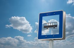 Bus stop. Sign against bright sky Stock Photos