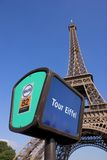 Bus stop. Parisian bus stop at the Tour Eiffel station Royalty Free Stock Photos