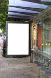 Bus Stop Advertisement. A Big Blank Bus Stop Advertisement Space stock photo