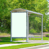 Bus stop with advertisement space Stock Photo