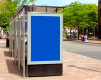 Bus Stop Advertising. Bus stop billboard, advertisement space in the city for outdoor advertising Royalty Free Stock Images