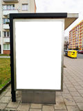 Bus stop advertising billboard. White advertising billboard on bus stop for your visualization of graphic design of posters and billboards Stock Image
