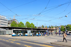 Bus stop on Bahnhofplatz square in Lucerne, Switzerland Royalty Free Stock Photo