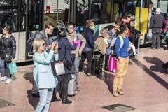 Bus stop in Barcelona Stock Photo