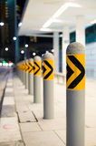 Bus stop and barriers. Safety barriers erected at a bus stop stock image