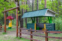 Bus stop beautiful of wood in the forest royalty free stock photos