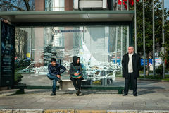 Bus stop in Besiktas, Istanbul, Turkey Royalty Free Stock Photography