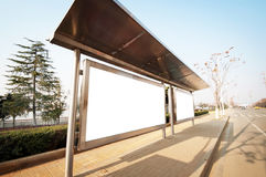 Bus stop billboard. On stage stock photo