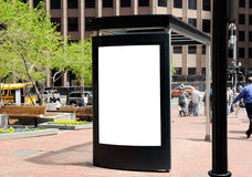 Bus Stop Billboard. Blank bus stop billboard in American city stock photos