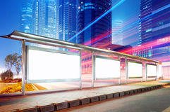 Bus stop billboard at night Royalty Free Stock Images
