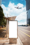 Bus stop billboard. On stage stock image