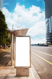 Bus stop billboard. On stage royalty free stock photography