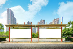 Bus stop billboard on stage royalty free stock photos