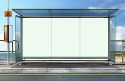 Bus stop with blank advertising board Royalty Free Stock Photos
