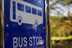 Bus stop traffic sign. Blue  color traffic sign Stock Images