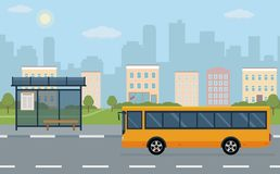 Bus stop and bus on city background. Vector illustration. Flat style concept of public transport Royalty Free Stock Images