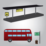 Bus stop and bus eps10 Royalty Free Stock Photos